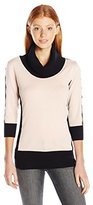 Amy Byer A. Byer Juniors 3/4 Sleeve Color Block Cowl Neck Sweater