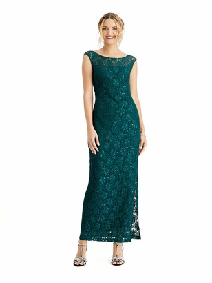 Connected Apparel Womens Green Embroidered Rhinestone Slit Floral Sleeveless Cowl Neck Maxi Sheath Evening Dress UK Size:14