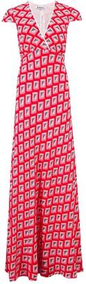 Libelula Long Olivia Dress Red Star Diamond Print
