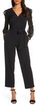 Donna Ricco Long Sleeve Chiffon Jumpsuit