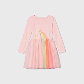 Cat & Jack Toddler Girls' Sequin Unicorn Tulle Long Sleeve Dress - Cat & JackTM Light