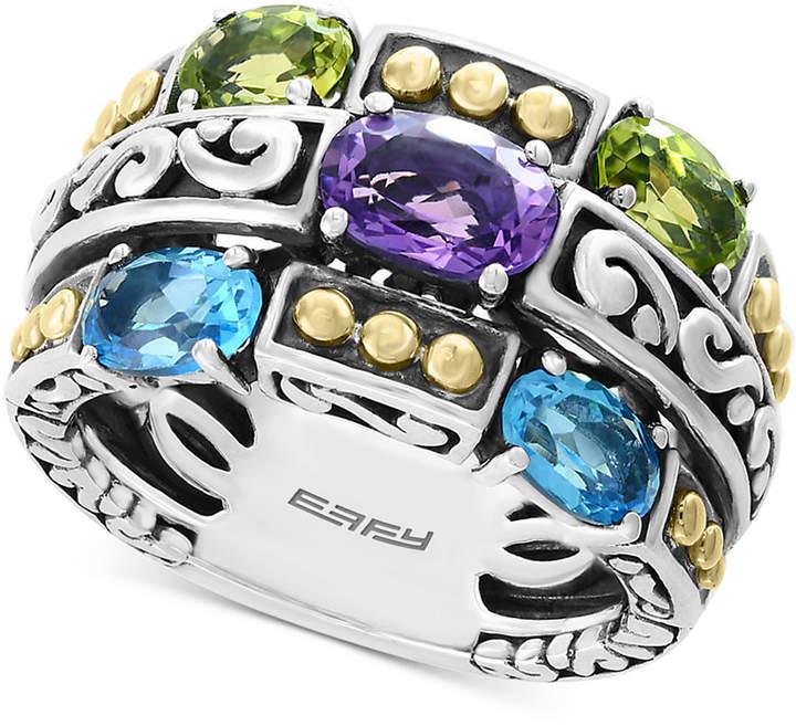 Effy Multi-Gemstone Statement Ring (2-9/10 ct. t.w.) in Sterling Silver & 18k Gold