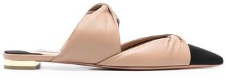 Aquazzura Twist leather flat mules