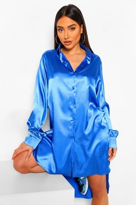 boohoo Satin Oversized Shirt Dress
