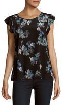 Joie Floral Raw-Silk Top