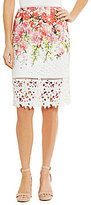 Antonio Melani Riane Floral Printed Chemical Lace Pencil Skirt