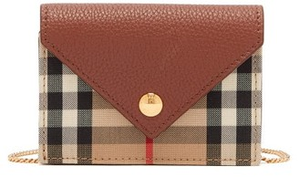 Burberry Jade Vintage-check Chain-strap Leather Wallet - Brown Multi