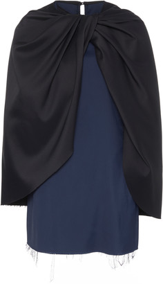 Marina Moscone Ruched Cape-Effect Satin Top