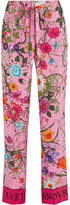 Gucci Printed Silk Crepe De Chine Wide-leg Pants - Pink