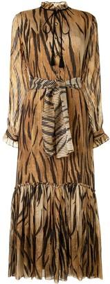 Etro Tiger-Pattern Belted Midi Dress