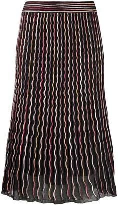 M Missoni Contrast Piped Knit Skirt