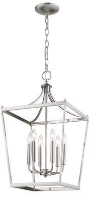 Rancourt 6 - Light Lantern Traditional Chandelier Charlton Home Finish: Satin Nickel