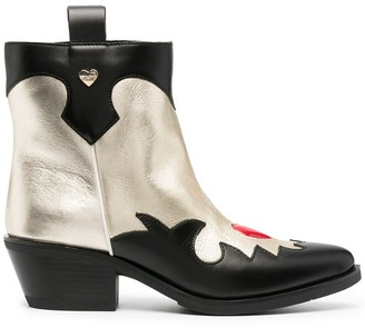 Love Moschino panelled leather Western boots