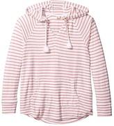 Roxy Long Night Hooded Long Sleeve Top (Cafe Creme Zoupla Horizontale) Women's Clothing