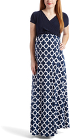 Glam White & Navy Lattice Maternity/Nursing Surplice Maxi Dress