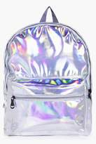 boohoo Libby Holographic Rucksack silver