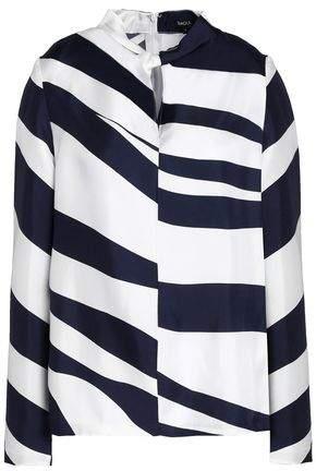 Raoul Twist-Front Zebra-Print Silk-Twill Blouse