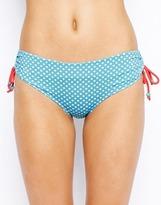 Marie Meili Spot Deep Hipster Bikini Bottom - Aqua dot