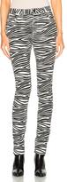 Saint Laurent Skinny 5 Pocket Medium Waist Jeans in Black,White,Animal Print.