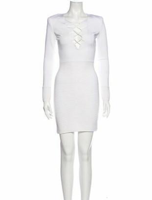Balmain Tie Neck Mini Dress White