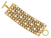 Chanel Iridescent Crystal 5-Row Chain Bracelet