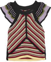 ALEXACHUNG Striped Crochet-knit Cotton-blend Top