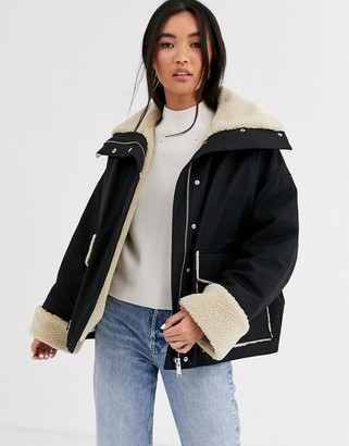 And other stories & faux shearling coat in black and white