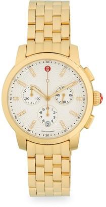 Michele Uptown Goldtone Diamond Stainless Steel Chronograph Watch