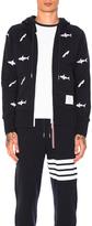 Thom Browne Shark & Surfboard Embroidery Zip Hoodie
