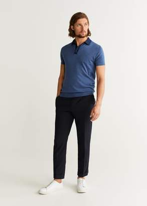 MANGO MAN - Contrasting neck knit polo shirt indigo blue - XS - Men