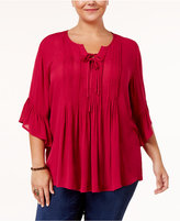 Style&Co. Style & Co Plus Size Pintucked Ruffled Peasant Top, Only at Macy's