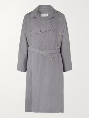 Maison Margiela Double-Breasted Herringbone Linen Belted Trench Coat - Men - Gray