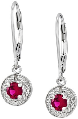 Sterling Round Faceted Birthstone Lever Back Earrings