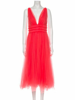 Maria Lucia Hohan Plunge Neckline Long Dress Pink
