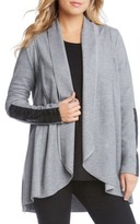 Karen Kane Women's Faux Leather Trim Drape Cardigan