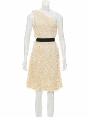 Lela Rose One-Shoulder Knee-Length Dress w/ Tags Rose