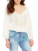 Jessica Simpson Elizabella Long Sleeve Embroidered Tie-Front Peasant Top