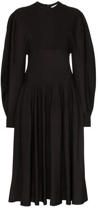 Givenchy Puffed-Sleeve Midi Dress