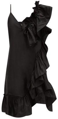 Marques Almeida Asymmetric Ruffled Silk-tafetta Dress - Black