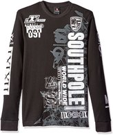 Southpole Men's Long Sleeve Flock and Screen Graphic Tee with Logo