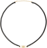 Monica Rich Kosann 18K Yellow Gold and Diamond Double Sided Lock Charm and Black Lacquered Stainless Steel Chain Necklace