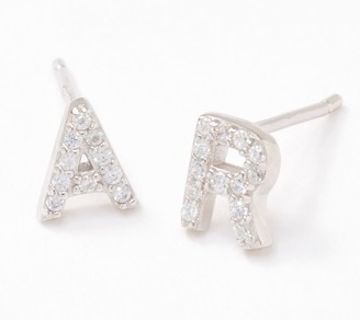 Diamonique Personalized Set of 2 Pave Letter Studs, Sterling Silver