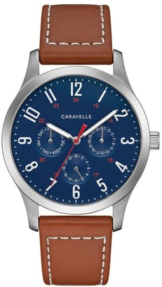 Caravelle by Bulova Men's Blue Dial Brown Leather Watch
