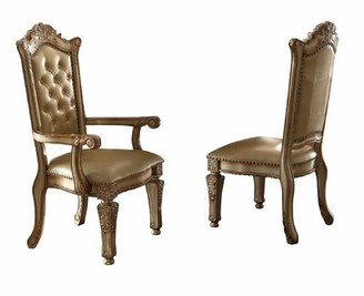 Wellow Tufted Upholstered Side Chair in Gold Astoria Grand