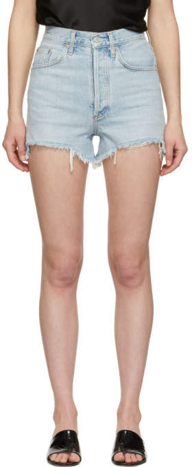 A Gold E Agolde Blue Denim Dee Close Fit Shorts