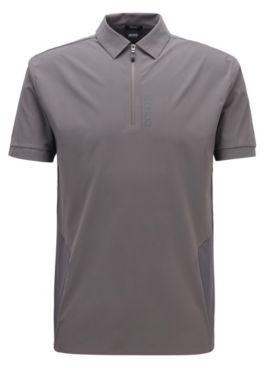HUGO BOSS Zip Neck Polo Shirt With Perforated Panels - Dark Grey