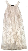 BCBGMAXAZRIA Cream Mesh Circle Print Shift Dress