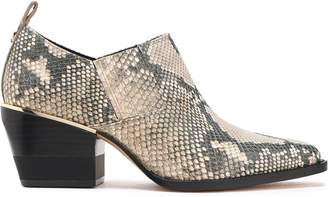 DKNY Roxy Snake-effect Leather Ankle Boots