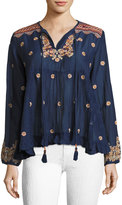 Max Studio Embroidered Voile Top, Navy