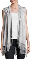 Neiman Marcus Open-Front Vest with Fringe Trim, Heather Gray